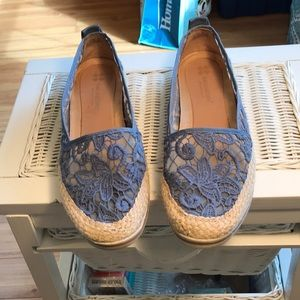 In Very Good Used Condition Light BLUE Lace Flats
